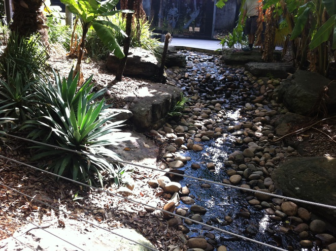 Kokoda Track Memorial Walkway-water along the granite walls