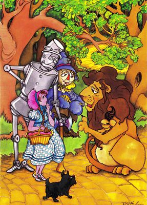 Dorothy, the Tin Man, the Scarecrow and the Lion