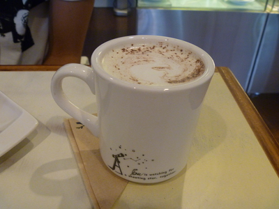 Hot white chocolate with coconut at By Blackbird King William Rd Coffee and Dessert Bar