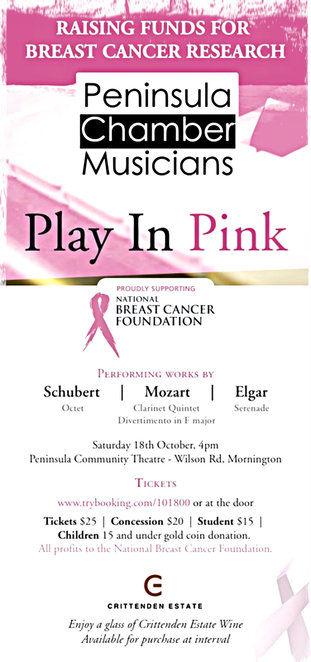 peninsula chamber musicians, play in pink, national breast cancer foundation, schubert, mozart, elgar, peninsula community theatre