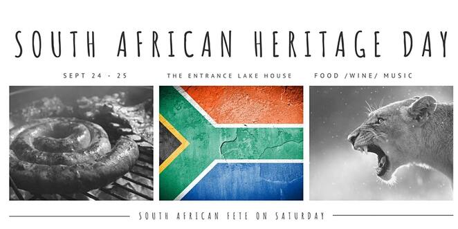 south African heritage weekend, the entrance lake house, community event, fun things to do, cultural eent, boerewors, bunny chows, sindhoek, klipdrift, pronutro, pap, food and drink, melktart, bobotie, biltong, koeksisters, castle lager, pinotage, buiten blanc, south african food, mshoza, miriam makeba, johnny clegg, south african flea market, live music, market stalls
