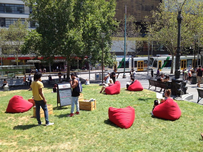 Beanbags and Books on the Lawn at the State Library (c) JP Mundy 2014