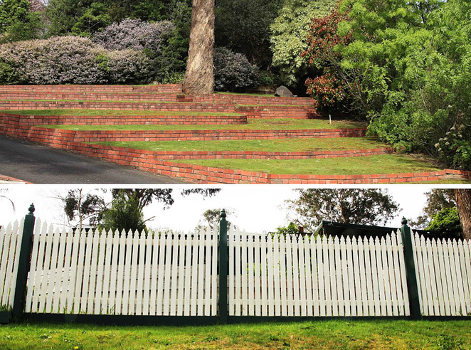 Terracing and picket fence.
