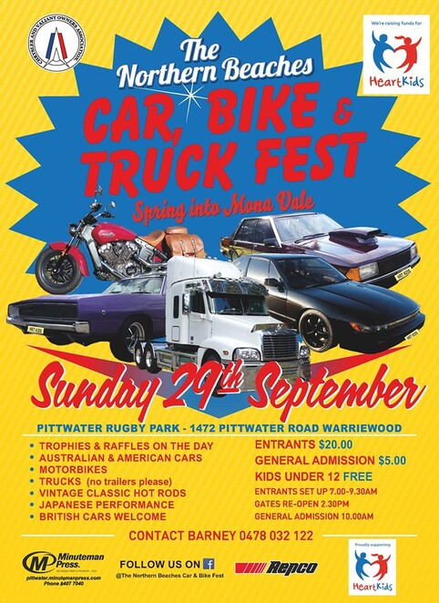 the northern beaches car bike and truck fest 2019, community event, fun things to do, charity, fundraiser, rat park warriewood, heartkids, heart kids, trophies, competitions, lucky door prize, raffle prizes, bbq, coffee, ice cream, kids entertainment, family day out