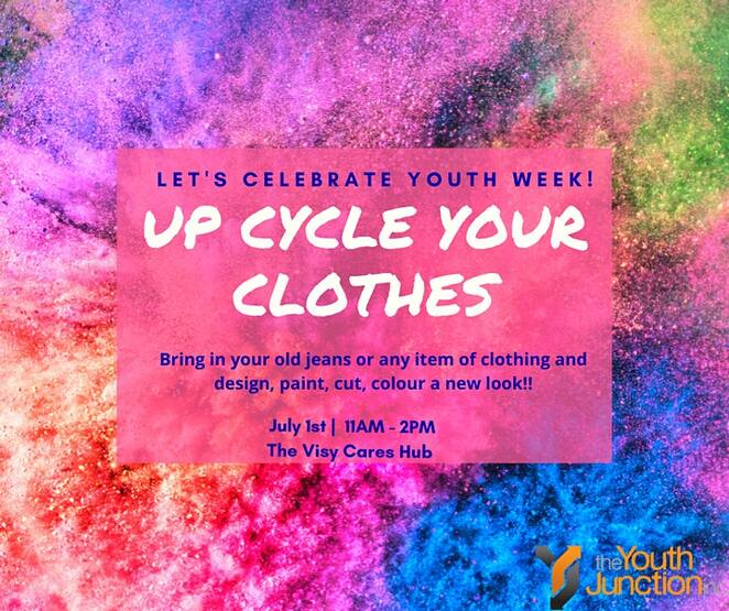 upcycle your clothes, community event, fun things to do, paint your clothes, celebrating youth week, the youth junction inc, be your own fashion designer, the visy cares hub, upcycle your clothes, fun with fashion