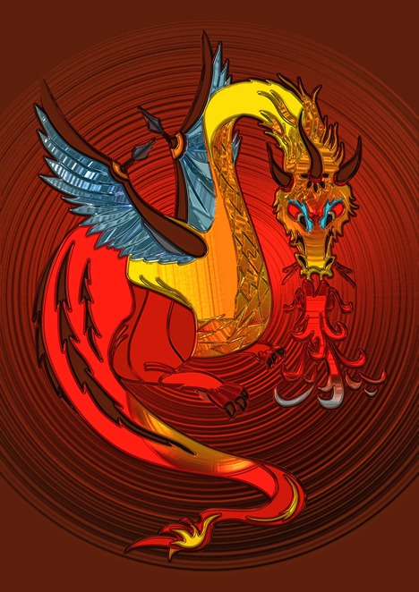 dragon,colourful,medieval,wings,fantasy,flame,red,blue yellow