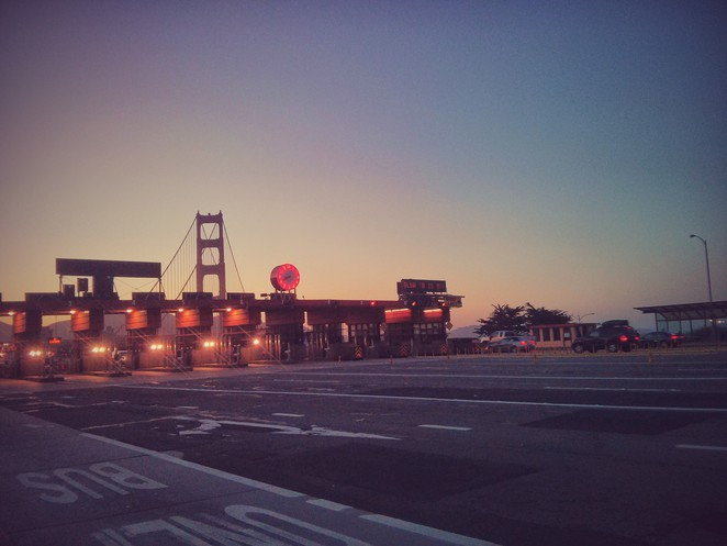 Golden Gate Toll Plaza at dusk