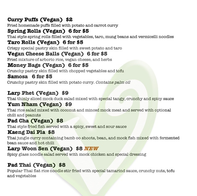 menu,for,vegan,food