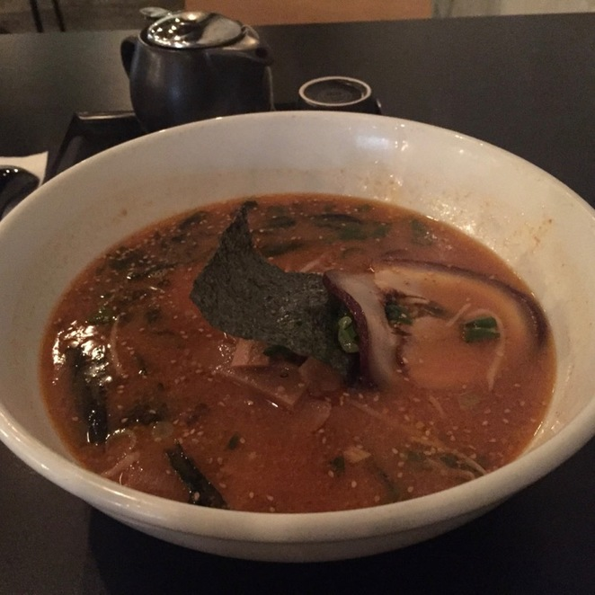 Nao Japanese Restaurant Spicy Ramen with Squid Ink Noodles