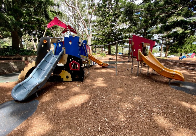 There is a playground across the carpark from Picnic Point Cafe and Restaurant