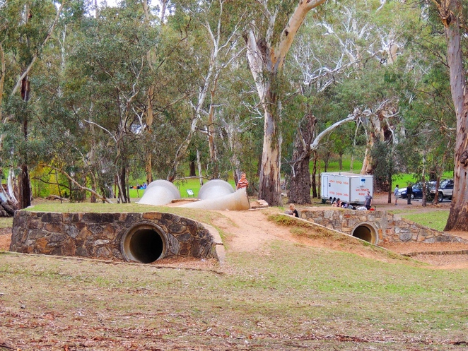 playground in, a playground, playgrounds, park in adelaide, adventure playground, play equipment, belair national park, walking trails, maze of pipes