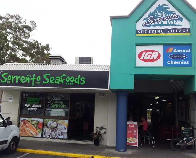 sorrento, seafood, fish, chips, offstreet parking
