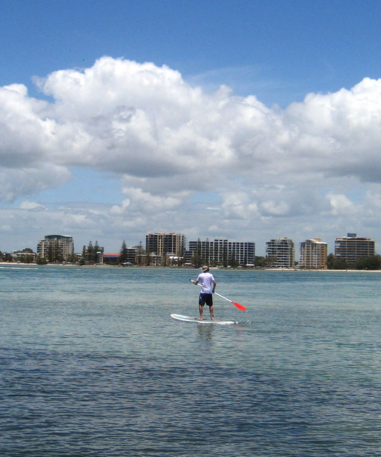 Stand up paddle boarder at Pumice Stone Passage, Caloundra