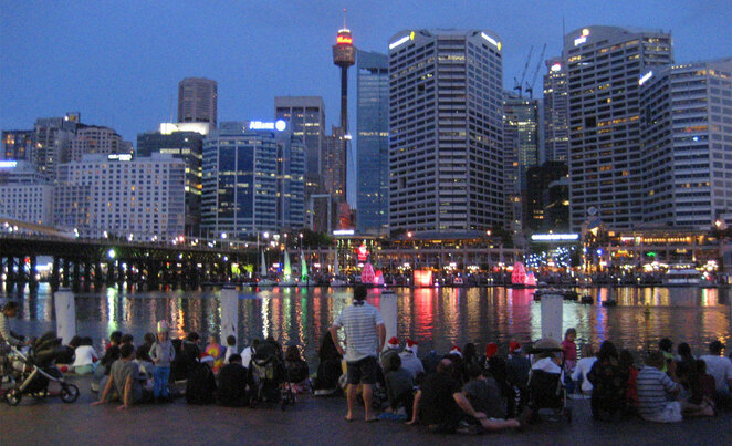 Enjoying an event at Sydney's Darling Harbour