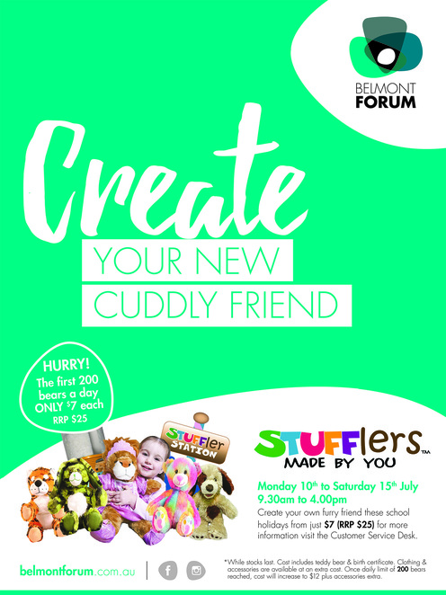 Stuffler Station, Stuffler Bear Building, Belmont Forum, Stuffler Perth, July school holidays, school holidays Perth