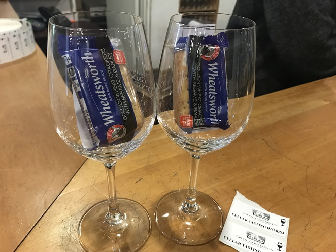 Wineglasses and crackers
