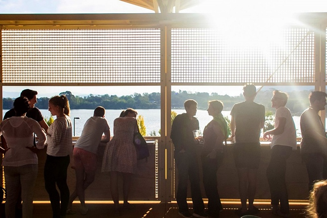 aviary rooftop bar, aviary, westside acton park, shipping container village, bars with views, lake burley griffin, canberra, lake views,