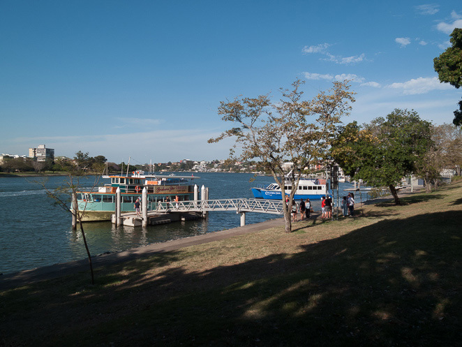 A cruise boat docked at Mowbray Park
