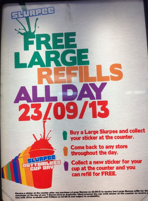 Bottomless cup day poster from a seven eleven store