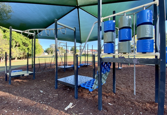 Kids can balance, swing, climb, and learn as they explore