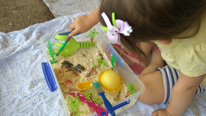 cloud dough, dinosaur hunt, sensory activities