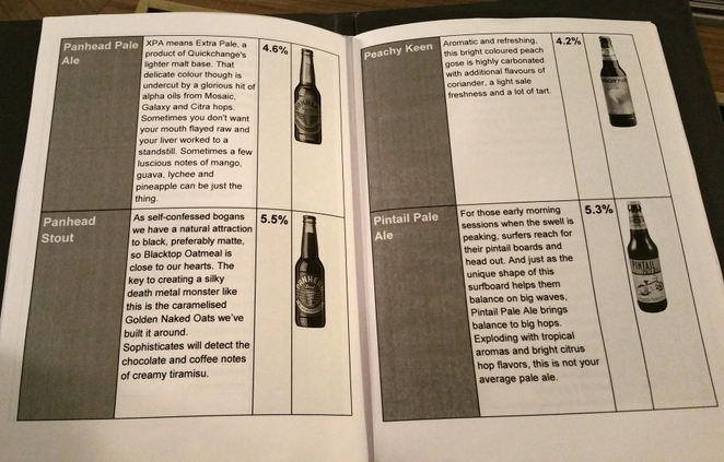 Some pages from the Craft Beer Menu
