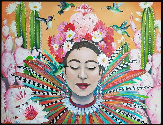 Gaia, acrylic on canvas by Rose Colbeck for Fiesta at the Happenstore