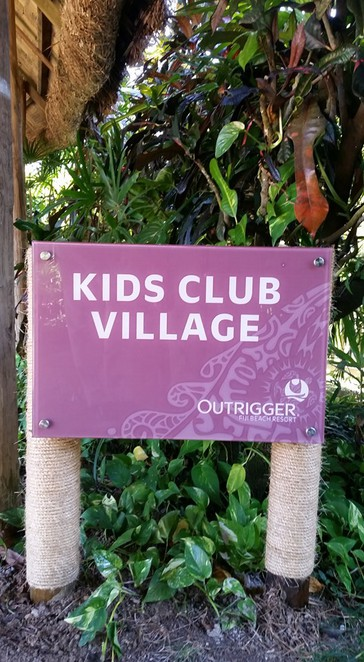 Kids Club sign Outrigger Fiji