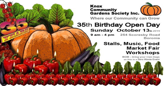 knox community gardens 35th birthday celebration 2019, community event, fun things to do, knox community gardens society inc, boronia, free garden event, family fun, market stalls, community stalls, kids activites, information sessions, music, guest speakers, garden enthusiasts, green thumb