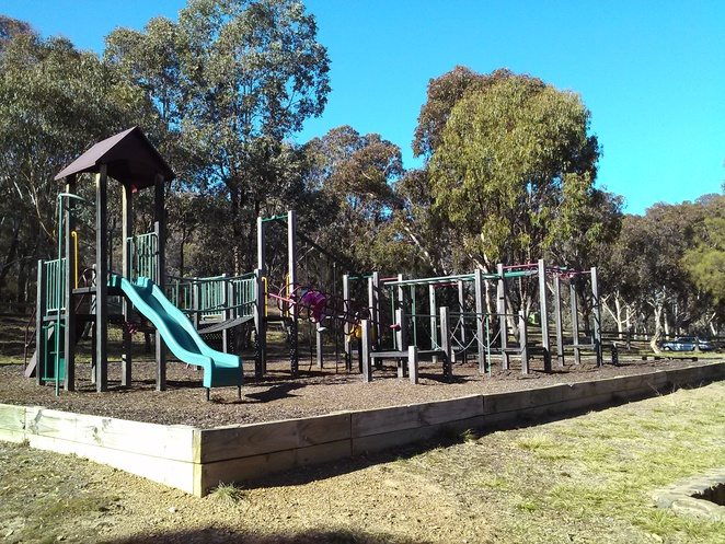 Playground at Molonglo Gorge recreation area, Queanbeyan