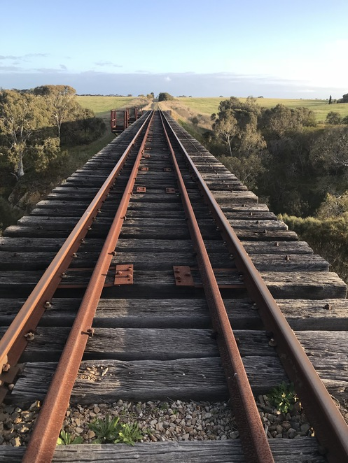 Railway line to Strathalbyn. From the top of the viaduct.