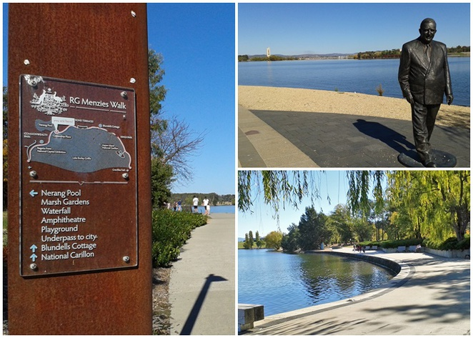RG menzies walk, lake burley griffin, lake burley griffin cycling loop, central loop, walks in canberra, ACT,