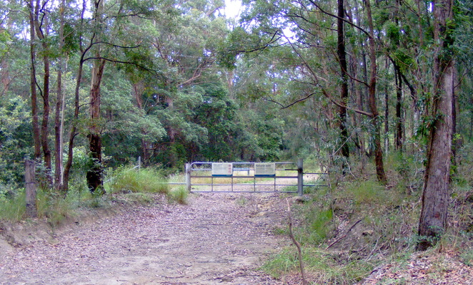 The entrance to Scrub Road from Mt Nebo Road