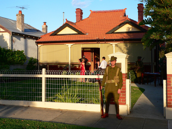 Shadows formed by the late afternoon sun add gravitas to the beautifully restored ANZAC Cottage and all it represents.