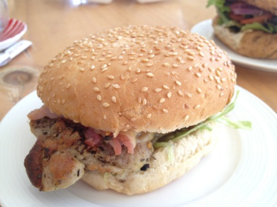 The Grilled Chicken Fillet Burger - chicken fillet, bacon, cheese, tomato, lettuce and seeded mayonnaise ($8.90)