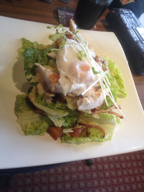 Warm chicken salad, Victoria Hotel, Tallangatta