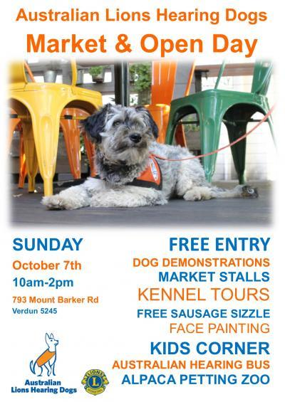 australian lions hearing dogs market and open day, community event, fun things to do, market stalls, dog demonstrations, kennel tours, free sausage sizzle, face painitng, kids corner, austrlaian hearing bus, alpaca petting zoo, change the lives of the deaf, hard of hearing