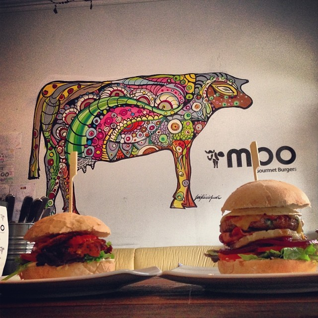 burgers, food, eat, newtown, moo, restaurant, cafe, bar, painting, cow