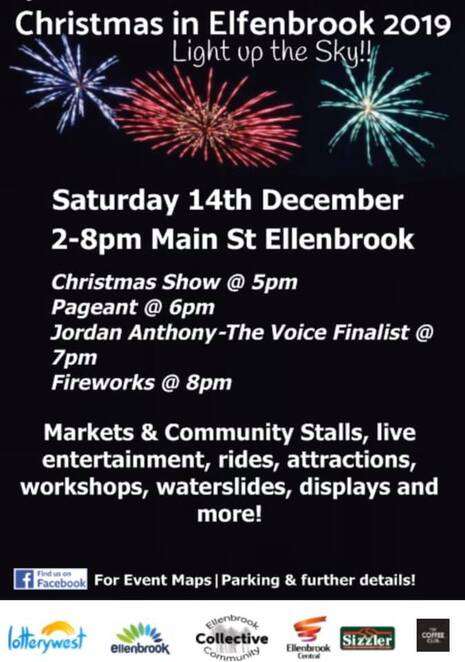 christmas in elfenbrook 2019, community event, fun things to do, ellenbrook community collective, the brook bar and bistro, ellenbrook, ellenbrook central, ellenbrook arts, community event, fun things to do, market stalls, international food, conservation corner, workshops, arts, culture, rides, attractions, displays, live entertainment, christmas pageant, fireworks, free family eent, vocalist jordan anthony, arachnid martial arts academy, ellenbrook independent primary school, step up dance academy, ice elite all star cheer & dance, ellenbrook dockers football club, kiddo's oshc & vacation care, ellenbrook theatre company inc, bullsbrook olunteer fire and emergency service, bellydance central, ellenbrook rovers christian football club, malern springs primary school, girl guides wa, wa dental, infinite grace dance academy