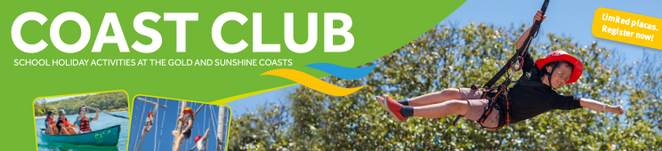 Coast Club School Holiday Activities, Gold Coast, Sunshine Coast, summer, archery, body boarding, spelunking, caves, giant swing, high ropes, pool inflatable, indoor rock walls, stand-up paddle boarding, surfs-up, vertical climbing, half day programme, full day programme, pre-register