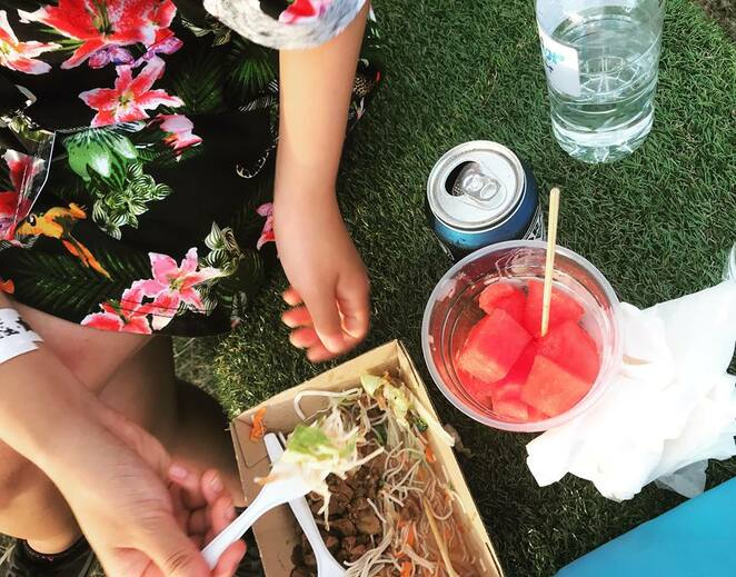 electric gardens, sydney, centennial park, music, festival, 2019, summer, Australia day, beef noodle salad, watermelon, food, festival snacks