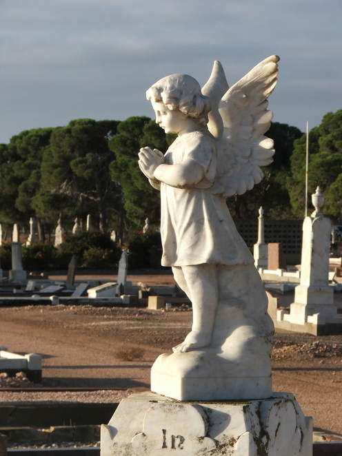 headstone, angel, cherub, tombstone, Wallaroo Cemetery