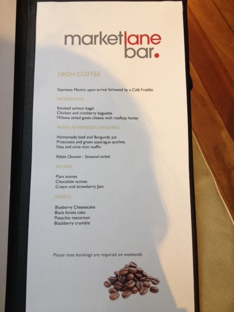 InterContinental The Rialto Melbourne High Coffee Espresso Martini Menu