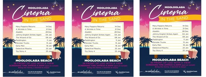 Mooloolaba Cinema in the Sand, toes in the sand, ocean breezes, Sunshine Coast Council, Mooloolaba Chamber of Commerce, family friendly movies, Loo with a View, gold coin donation, Mary Poppins Returns, A Wrinkle in Time, Aladdin, Johnny English Strikes Again, The Wizard of Oz, Paddington, Monster Trucks, Early Man, Detective Pikachu, Toy Story 4, lights, camera, action, sundown, chairs, picnic rugs, Mooloolaba Summer Movie Series