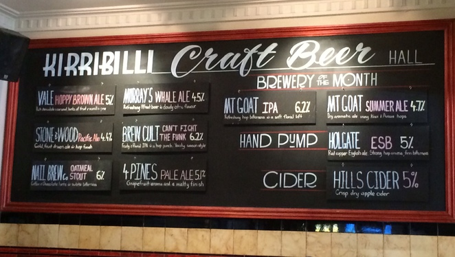 North Shore Sydney Craft Beer Kirribilli Hotel Blackboard