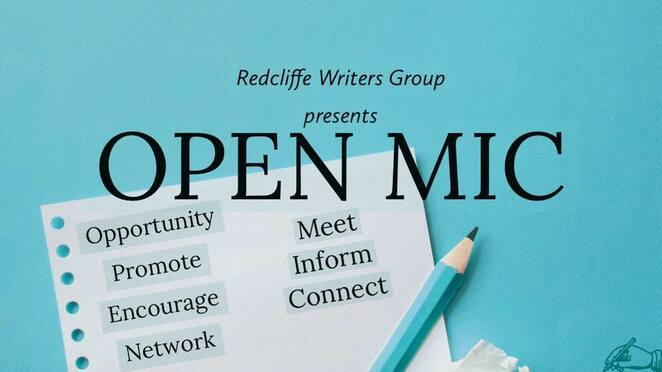 Open mic, Redcliffe, Redcliffe Writers, published authors, networking