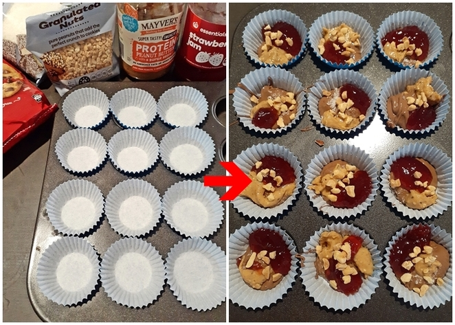 peanut butter and jam chocolate bites, peanut butter, strawberry jam, desiccated coconut, desiccated coconut, nestle choc bits, easy, kids, family, jelly, chocolates, make your own chocolates,