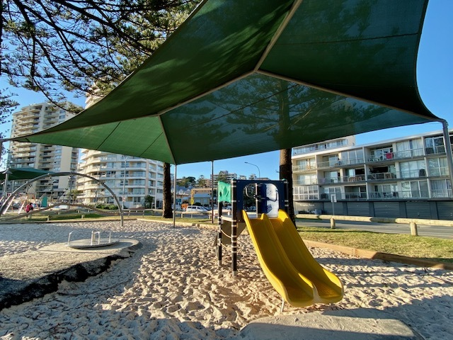 The parklands have facilities for families to chill out at after their time at the beach