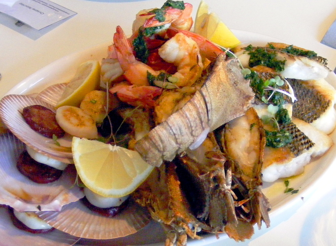 Seafood sample platter