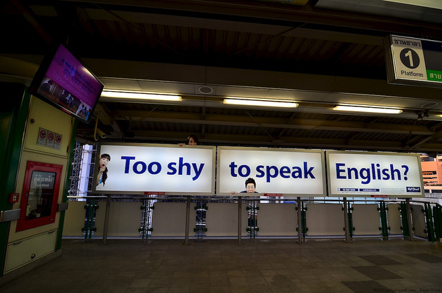Too shy to speak English?